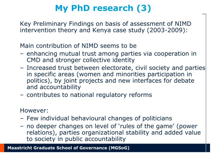 My PhD research (3)