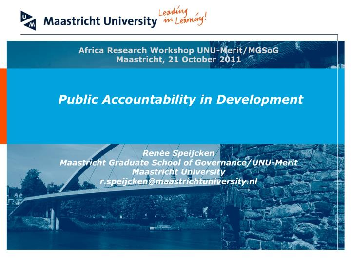 Africa Research Workshop UNU-Merit/MGSoG