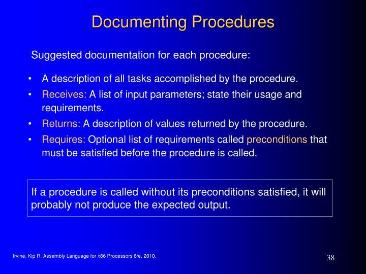 Documenting Procedures
