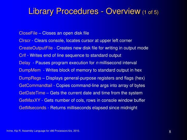 Library Procedures - Overview