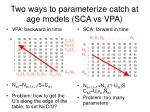 two ways to parameterize catch at age models sca vs vpa