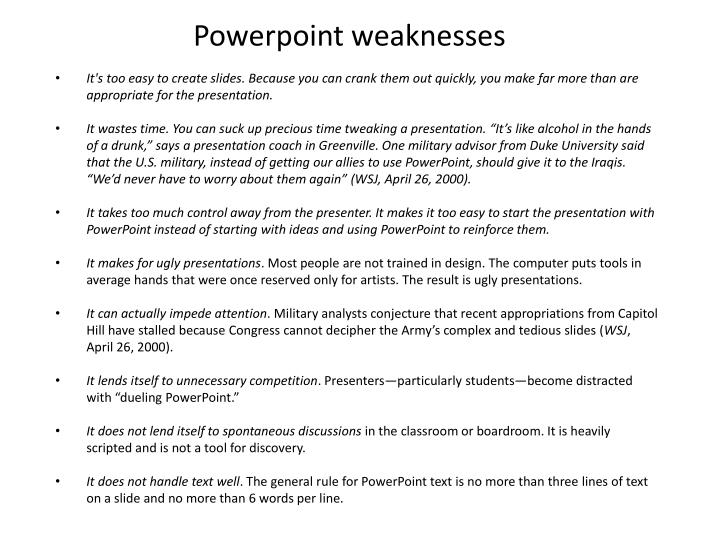 Powerpoint weaknesses
