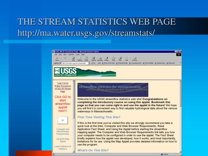 THE STREAM STATISTICS WEB PAGE