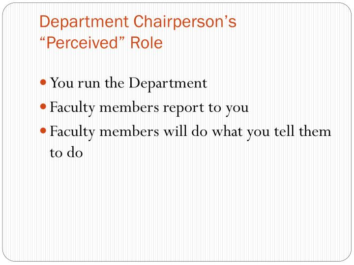 Department Chairperson's