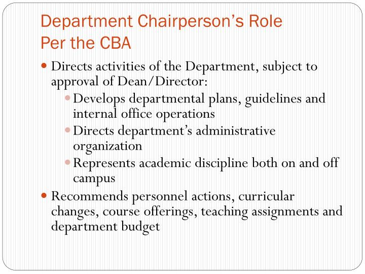 Department Chairperson's Role