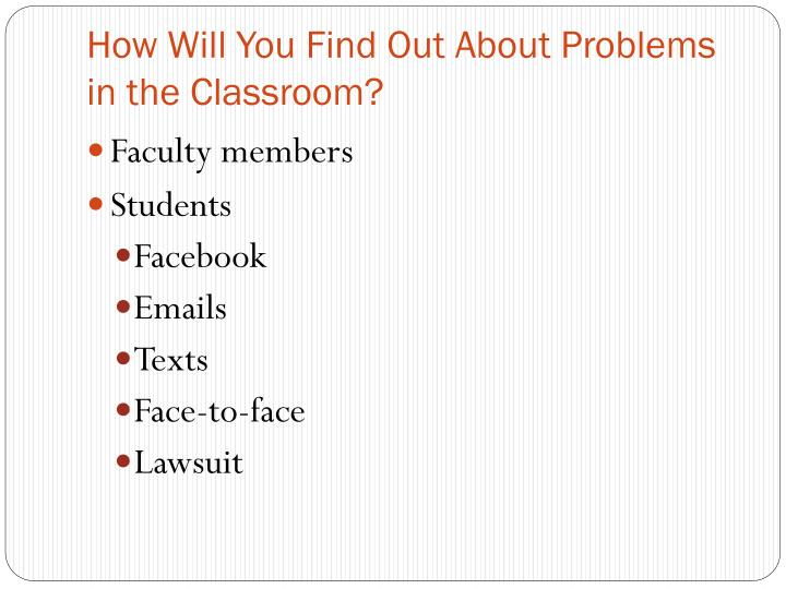 How Will You Find Out About Problems in the Classroom?