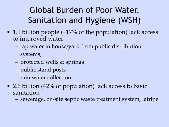 Global Burden of Poor Water, Sanitation and Hygiene (WSH)