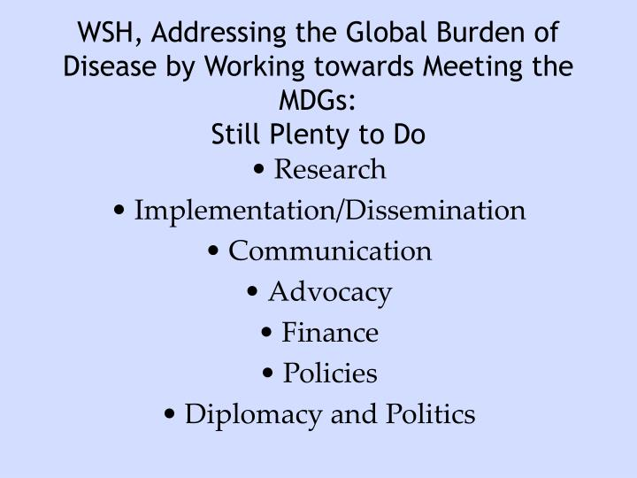 WSH, Addressing the Global Burden of Disease by Working towards Meeting the MDGs: