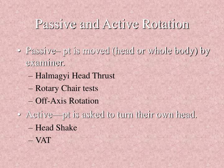 Passive and active rotation
