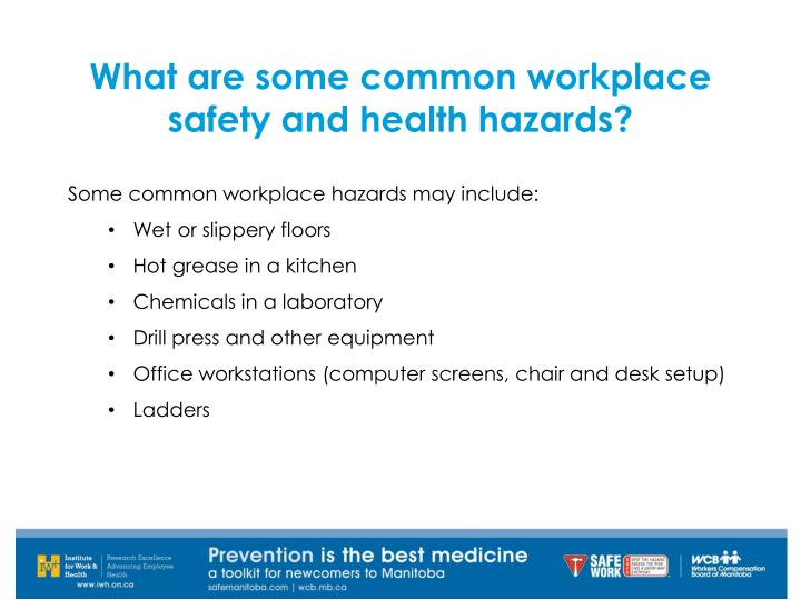 What are some common workplace safety and health hazards?