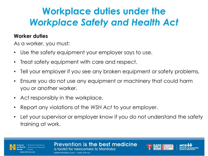 Workplace duties under the