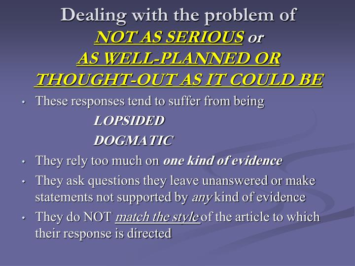 Dealing with the problem of