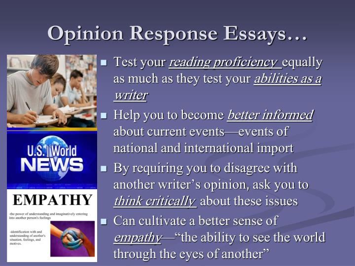 Opinion Response Essays…