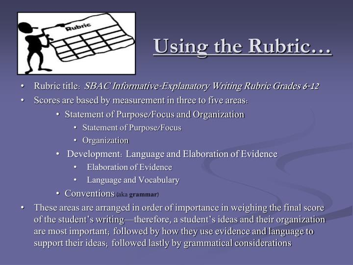 Using the Rubric…