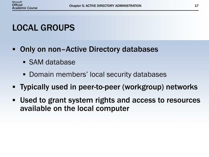 Chapter 5: ACTIVE DIRECTORY ADMINISTRATION