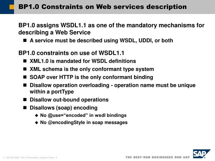 BP1.0 Constraints on Web services description