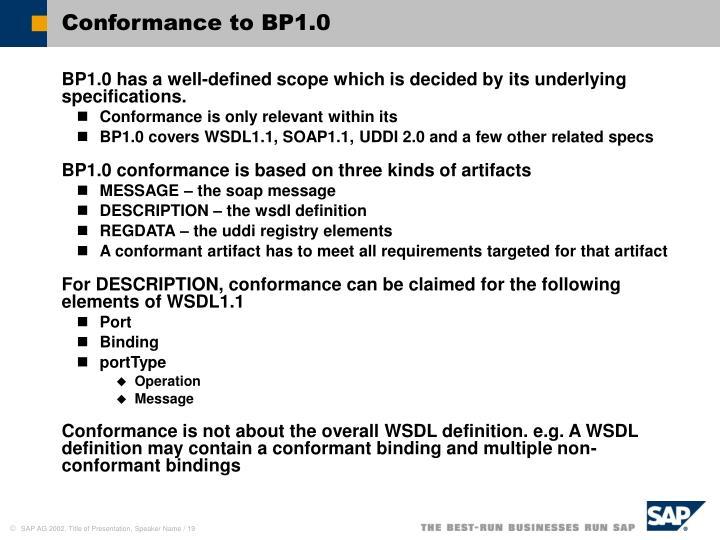 Conformance to BP1.0