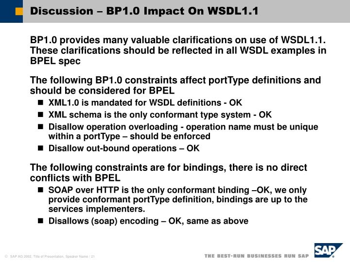 Discussion – BP1.0 Impact On WSDL1.1