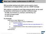 how can i claim conformance to bp1 0