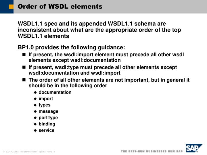 Order of WSDL elements