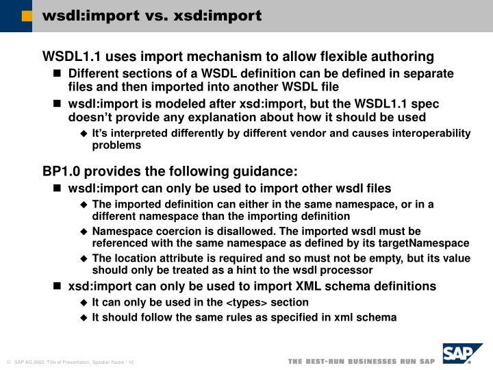 wsdl:import vs. xsd:import