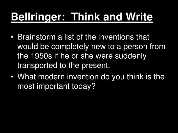 Bellringer:  Think and Write