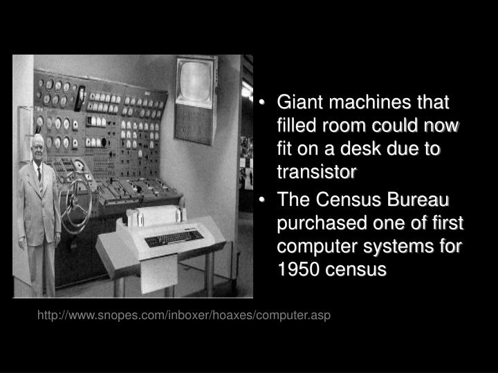Giant machines that filled room could now fit on a desk due to transistor