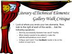 literary technical elements gallery walk critique