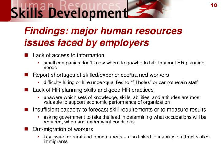 Findings: major human resources issues faced by employers