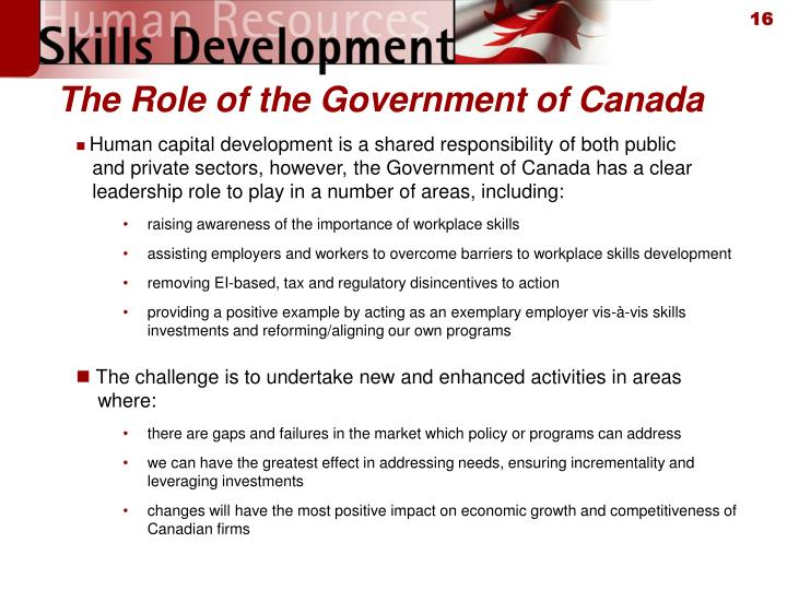The Role of the Government of Canada