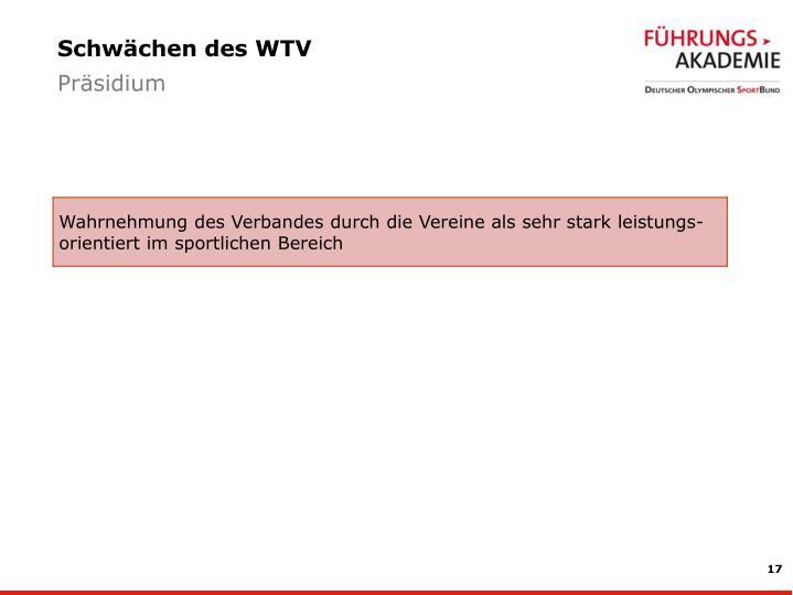 Schwächen des WTV