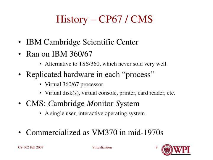 History – CP67 / CMS