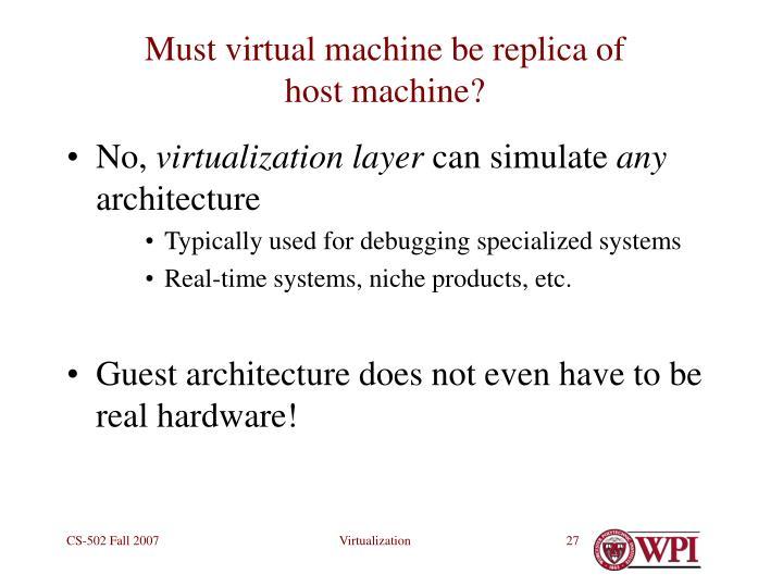 Must virtual machine be replica of