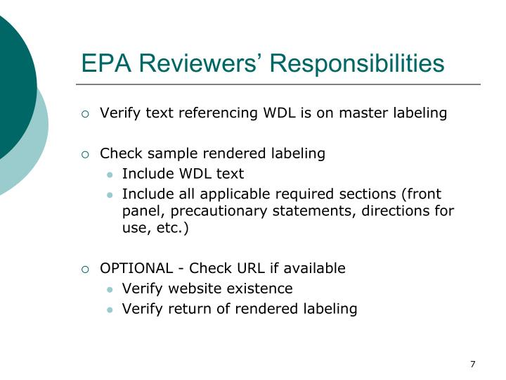 EPA Reviewers' Responsibilities