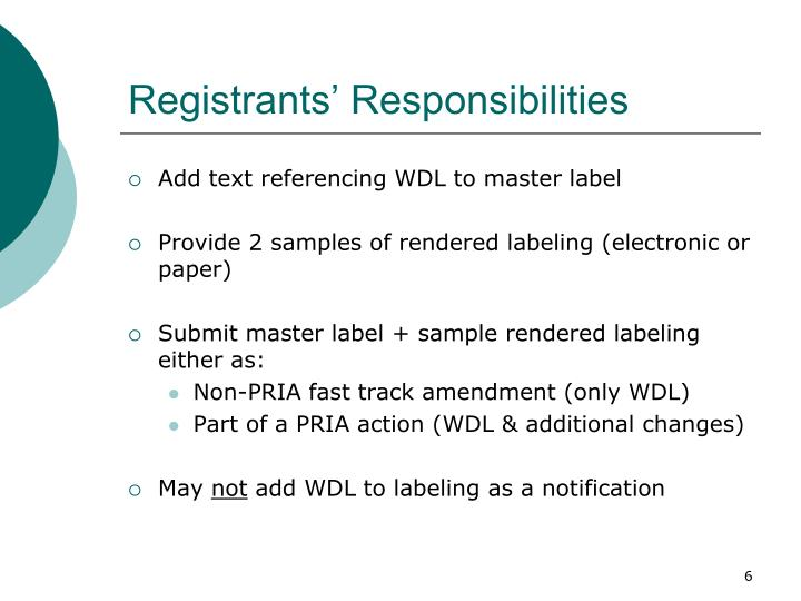 Registrants' Responsibilities
