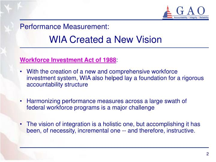 Performance measurement wia created a new vision