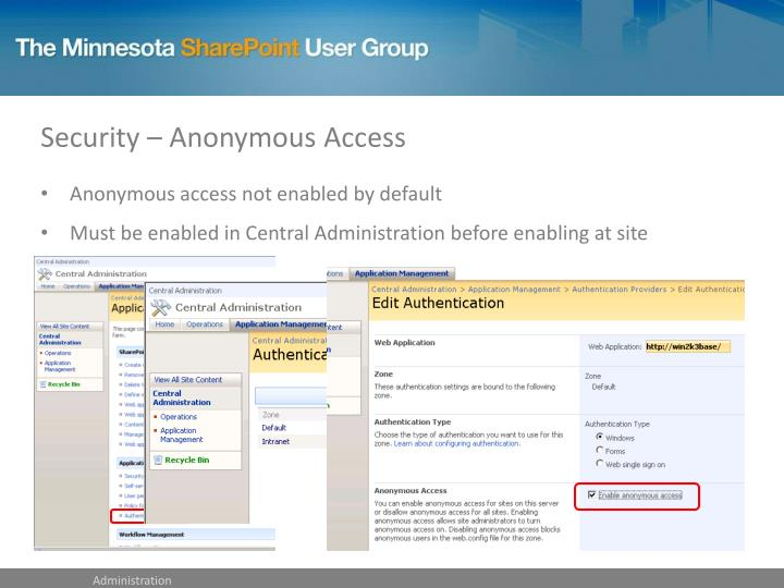 Security – Anonymous Access