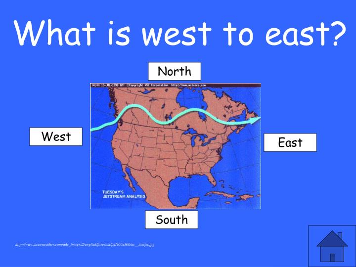 What is west to east?