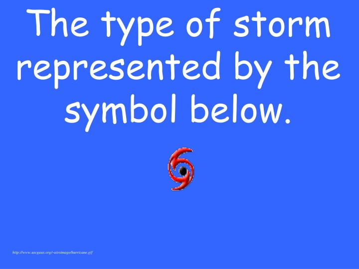 The type of storm