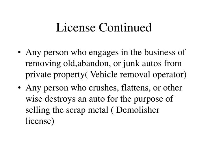 License Continued