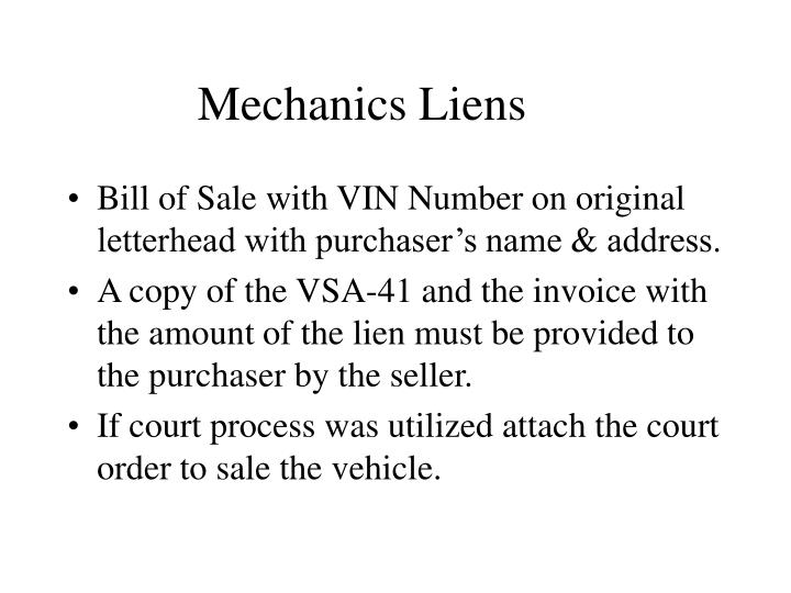 Mechanics Liens