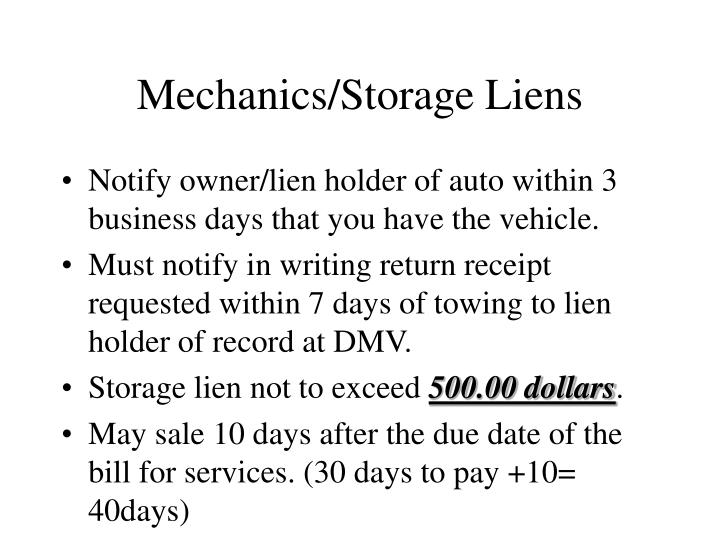 Mechanics/Storage Liens
