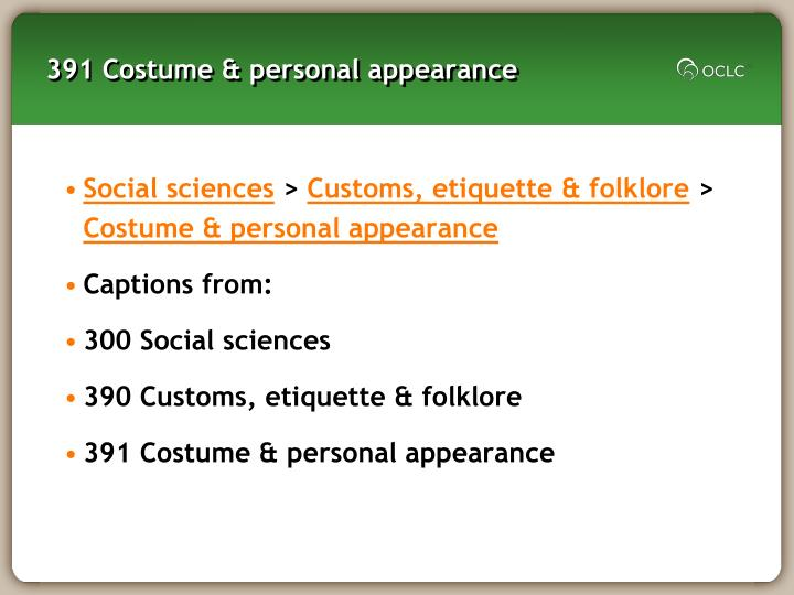 391 Costume & personal appearance