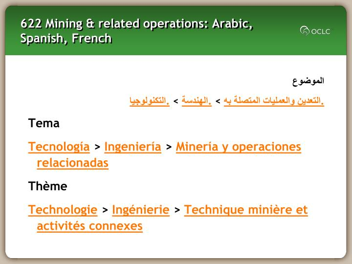 622 Mining & related operations: Arabic, Spanish, French
