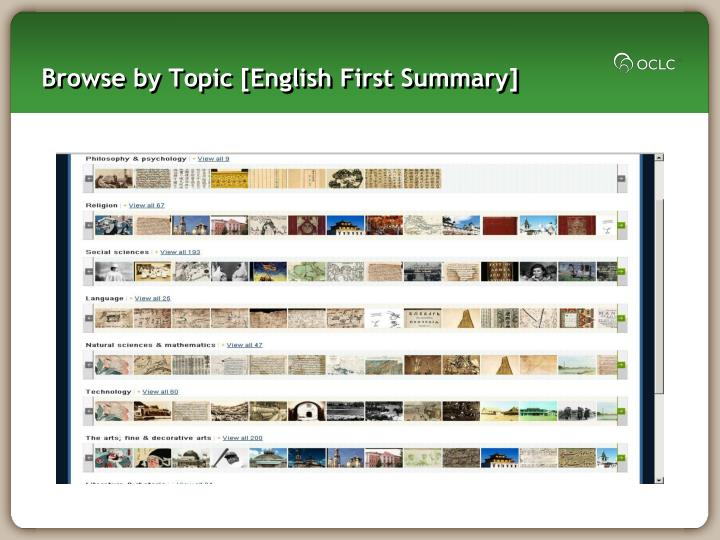 Browse by Topic [English First Summary]