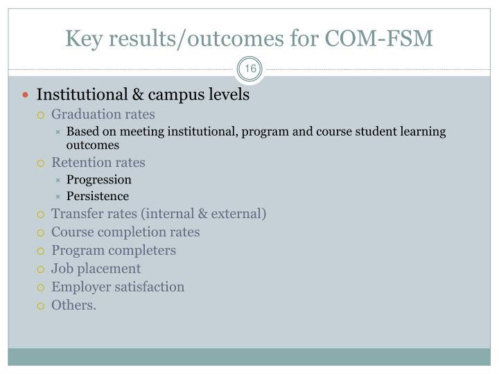 Key results/outcomes for COM-FSM