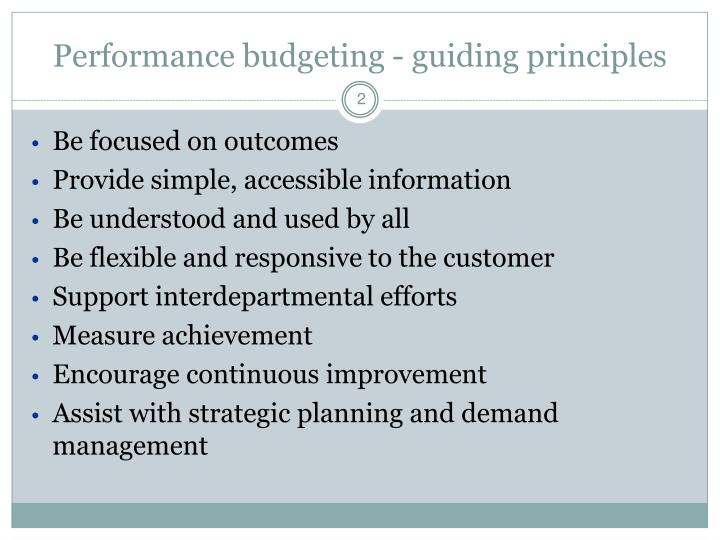 Performance budgeting - guiding principles