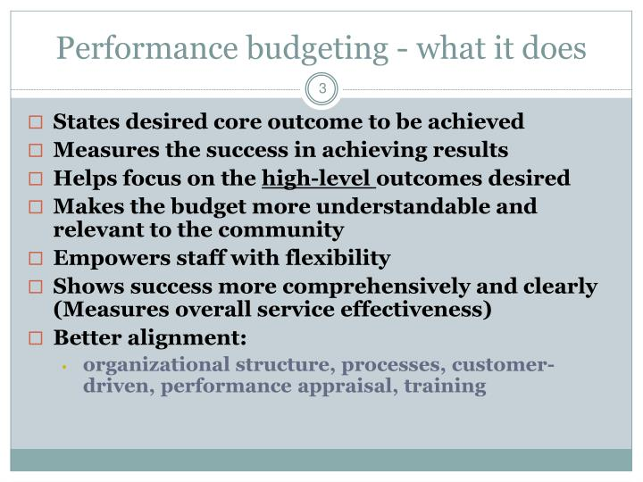 Performance budgeting - what it does