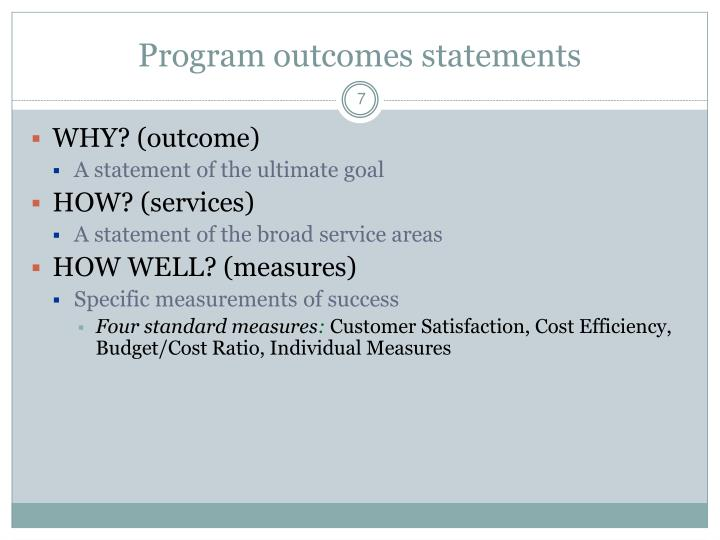 Program outcomes statements