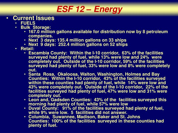 ESF 12 – Energy